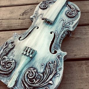 Shabby chic handmade full size violin decor accent